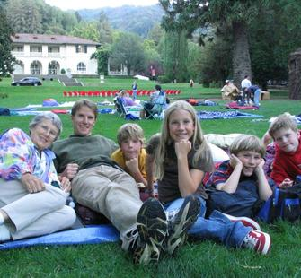 A family enjoys Montalvo&#39;s Great Lawn